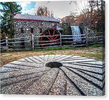Wayside Inn Grist Mill Millstone Canvas Print by Toby McGuire