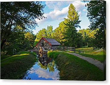 Sudbury Ma Canvas Print - Wayside Inn Grist Mill Reflection by Toby McGuire