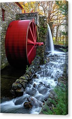 Wayside Inn Grist Mill Canvas Print - Wayside Inn Grist Mill Water Wheel by Betty Denise