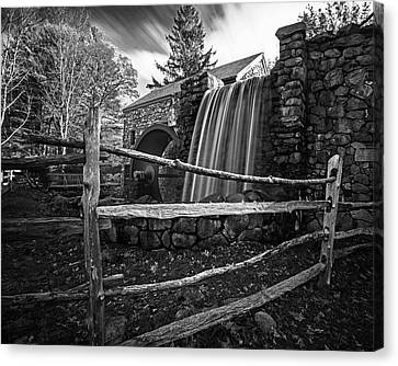Wayside Inn Grist Mill Canvas Print - Wayside Inn Grist Mill Waterfall Sudbury Ma Black And White by Toby McGuire