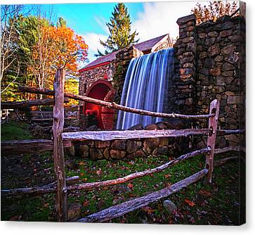Wayside Inn Grist Mill Canvas Print - Wayside Inn Grist Mill Waterfall Sudbury Ma by Toby McGuire