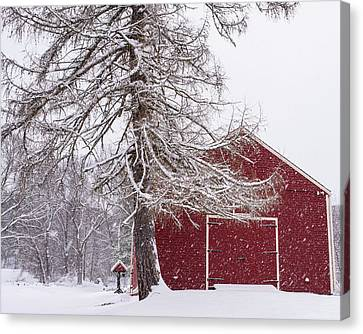 Wayside Inn Grist Mill Canvas Print - Wayside Inn Red Barn Covered In Snow Storm Reflection by Toby McGuire