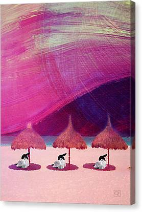 Canvas Print featuring the digital art We Are But Sheep On The Beach by Jean Moore
