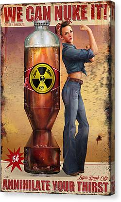 Canvas Print featuring the digital art We Can Nuke It by Steve Goad