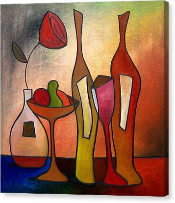 Wine Canvas Print - We Can Share - Abstract Wine Art By Fidostudio by Tom Fedro - Fidostudio