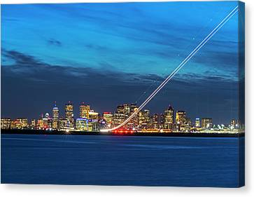 We Have Liftoff - Plane Taking Off From Logan Airport Boston Ma Steep Canvas Print