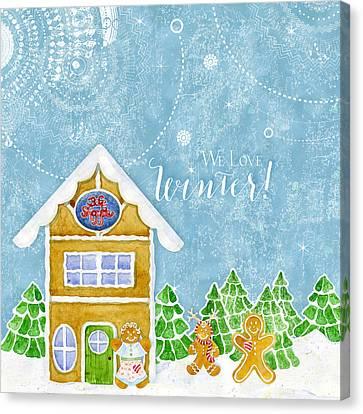 We Love Winter - Modern Gingerbread Bake Shop W Boy N Girl Gingerbread Men Canvas Print