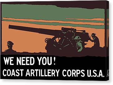 We Need You - Coast Artillery Corps Usa Canvas Print by War Is Hell Store