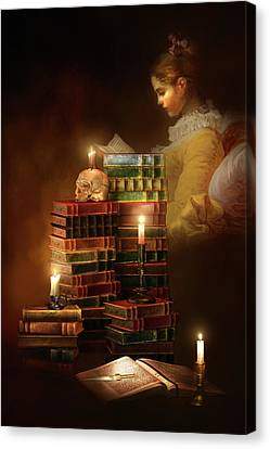 Candle Lit Canvas Print - We Read To Know We Are Not Alone by Georgiana Romanovna
