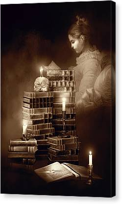 Candle Lit Canvas Print - We Read To Know We Are Not Alone Sepia Color by Georgiana Romanovna