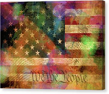 We The People Distressed Grunge Usa American Flag With Washington Hidden Portrait Canvas Print by Design Turnpike