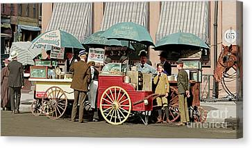 Wear Youngs Hats At Frankfurter Hot Dog Stands 3 Cents Each 20170707 Colorized Canvas Print