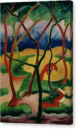1916 Canvas Print - Weasels Playing by Franz Marc