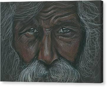 Weathered Aborigine Canvas Print by Linda Nielsen