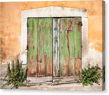 Weathered Green Door Of Tuscany Canvas Print by David Letts