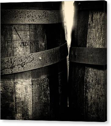 Canvas Print featuring the photograph Weathered Old Apple Barrels by Bob Orsillo