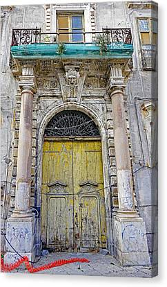 Weathered Old Artistic Door On A Building In Palermo Sicily Canvas Print by Richard Rosenshein