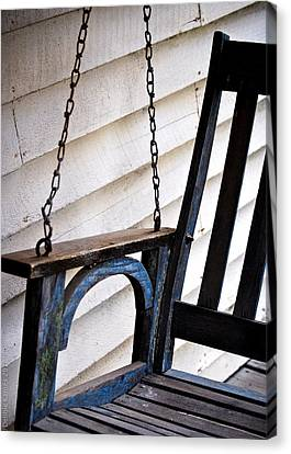 Weathered Porch Swing Canvas Print by Debbie Karnes