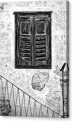 Canvas Print featuring the photograph Weathered Window And Railing - Slovenia by Stuart Litoff