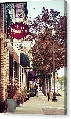 Canvas Print featuring the photograph Weathervane Downtown Menasha by Joel Witmeyer