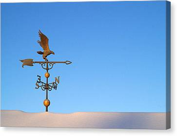 Weathervane On Snow Canvas Print by Robert  Suits Jr