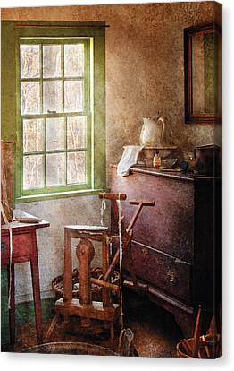 Weaving - In The Weavers Cottage Canvas Print by Mike Savad