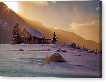 Log Cabin Canvas Print - Weber Canyon Cabin Sunrise. by Johnny Adolphson