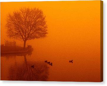 Webster Lake Sunrise Canvas Print by Michael L Kimble