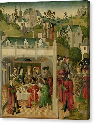Wedding Feast Of Saint Elizabeth Of Hungary And Louis Of Thuringia In The Wartburg Canvas Print by Celestial Images