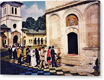 Wedding Procession In Muntenia Canvas Print by Sarah Loft