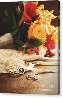 Wedding Ring With Bouquet On Velvet  Canvas Print by Sandra Cunningham