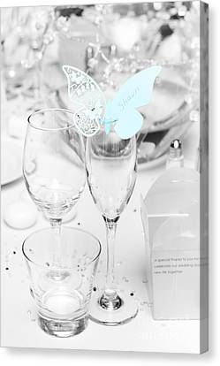 Wine Service Canvas Print - Wedding Table Decoration At Reception by Jorgo Photography - Wall Art Gallery