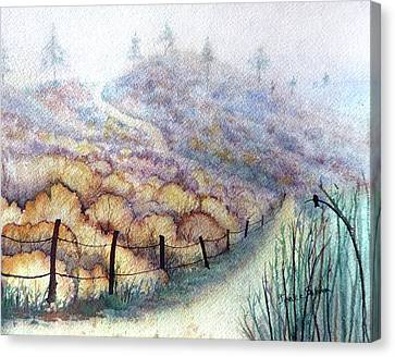 Weeds On A Hill, Carbon Canyon Canvas Print by Janice Sobien