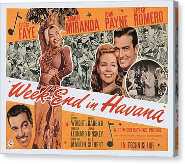 Week-end In Havana, Cesar Romero Canvas Print by Everett