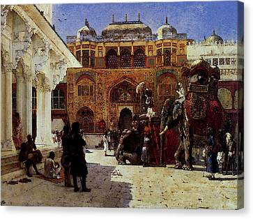 Weeks Edwin Arrival Of Prince Humbert The Rajah At The Palace Of Amber Canvas Print by Edwin Lord Weeks