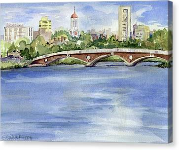 Charles River Canvas Print - Weeks Footbridge Over The Charles River by Erica Dale Strzepek