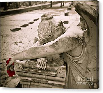 Weeping Angel In Winter Canvas Print