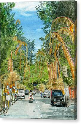Canvas Print featuring the painting Weeping Janur Bali Indonesia by Melly Terpening