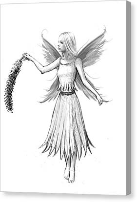 Weeping Willow Fairy With Catkin B And W Canvas Print