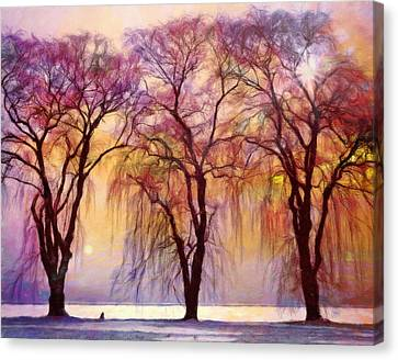 Foliage Canvas Print - Weeping Willow Oh Weep No More by Georgiana Romanovna