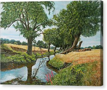 Weeping Willows At Beverley Brook Canvas Print