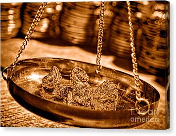 Prospector Canvas Print - Weighing Gold - Sepia by Olivier Le Queinec