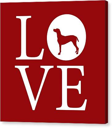 Weimaraner Love Red Canvas Print by Nancy Ingersoll