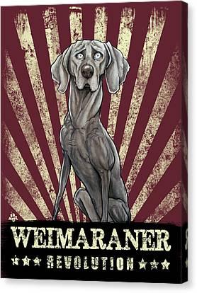Weimaraner Canvas Print - Weimaraner Revolution by John LaFree