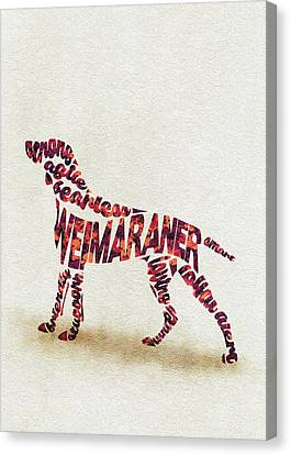 Canvas Print featuring the painting Weimaraner Watercolor Painting / Typographic Art by Inspirowl Design