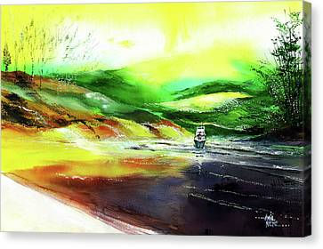 Canvas Print featuring the painting Welcome Back by Anil Nene