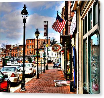 Street Lights Canvas Print - Welcome To Fells Point by Debbi Granruth