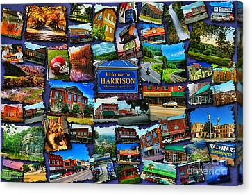 Welcome To Harrison Arkansas Canvas Print by Kathy Tarochione