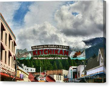 Welcome To Ketchikan Canvas Print by Mel Steinhauer