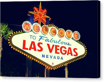 Canvas Print featuring the photograph Welcome To Las Vegas Neon Sign - Nevada Usa by Gregory Ballos